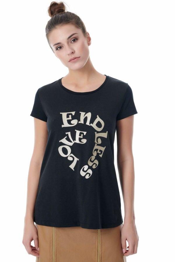 TSHIRTS Endless love t-shirt μαύρο