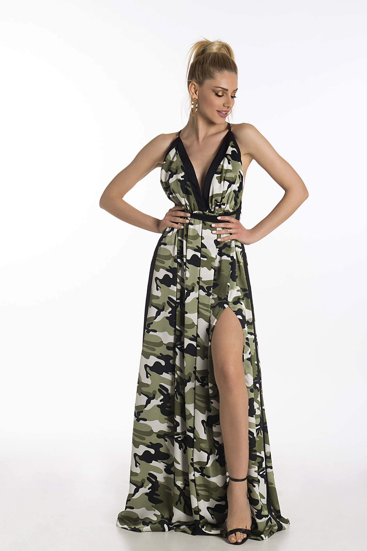 605f05208772 JoyFashionHouse Jungle dress λευκό