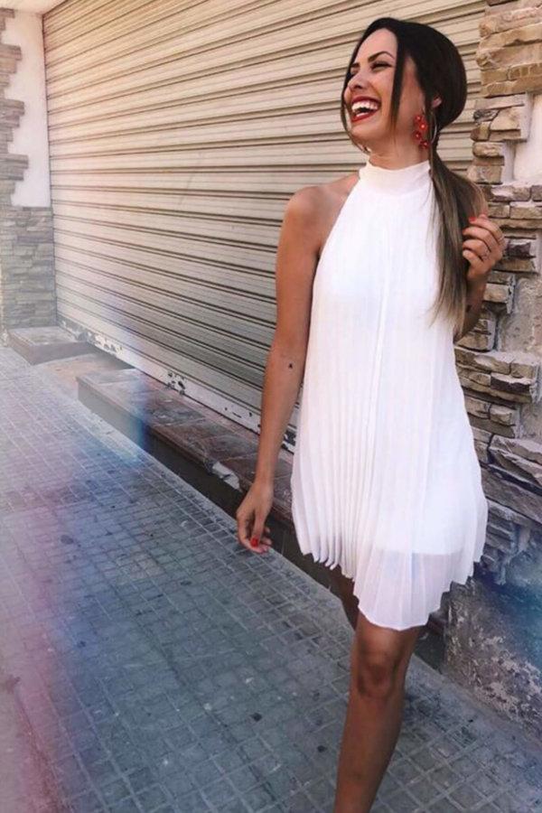 ΜΙΝΤΙ ΦΟΡΕΜΑΤΑ Make my day dress λευκό