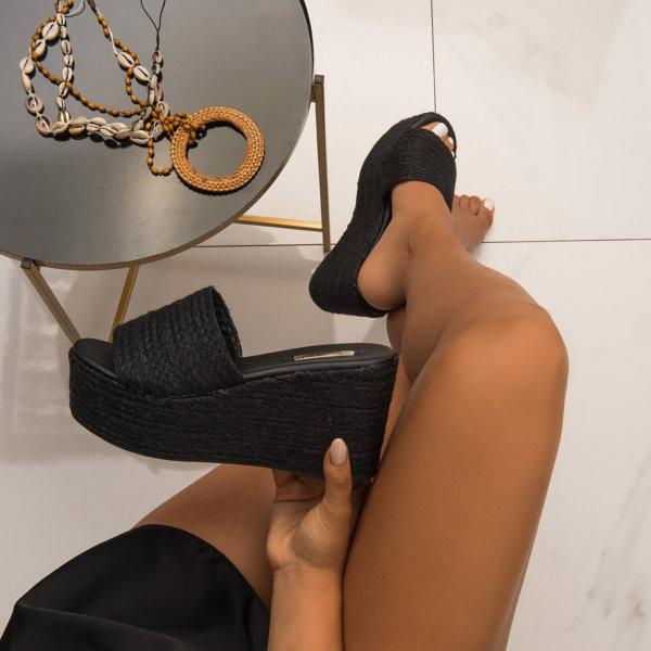 ΣΑΝΔΑΛΙΑ Happy Feet Platforms μαύρο