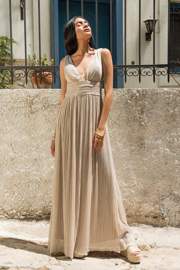 ΜΑΞΙ ΦΟΡΕΜΑΤΑ Millennium φόρεμα μπεζ