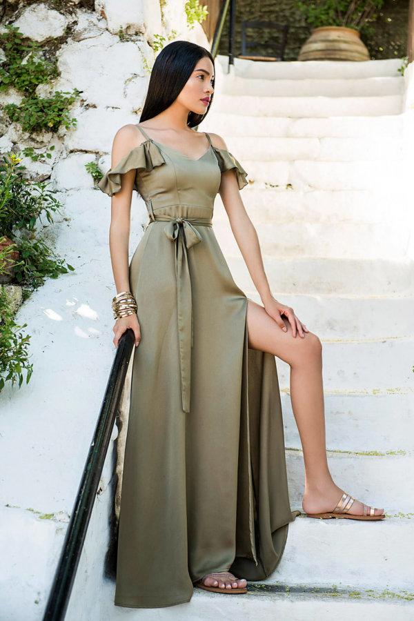 ΜΑΞΙ ΦΟΡΕΜΑΤΑ Satin yourlap φόρεμα λαδί