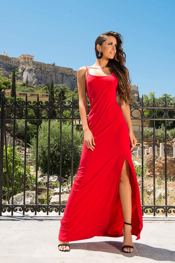 ΜΑΞΙ ΦΟΡΕΜΑΤΑ Emilia φόρεμα κόκκινο