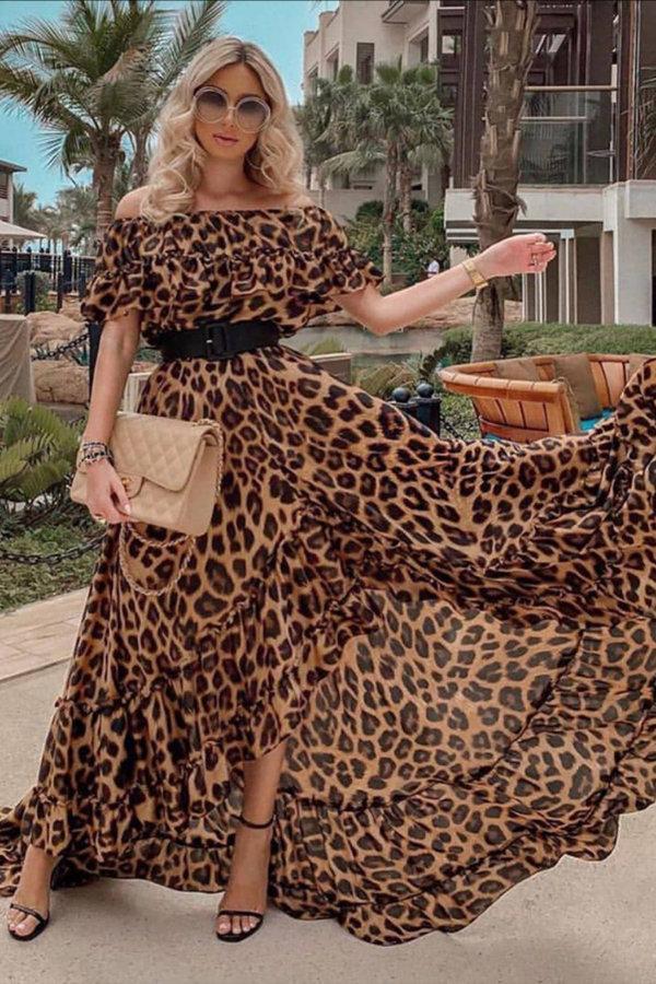 ΜΑΞΙ ΦΟΡΕΜΑΤΑ Alanis φόρεμα λεοπάρ