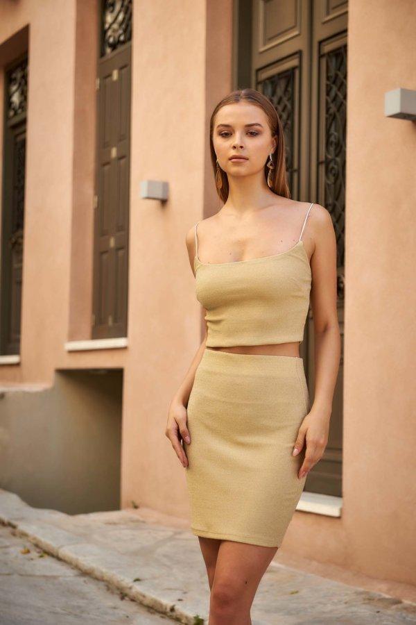 ΣΕΤ Phoebe φούστα χρυσό