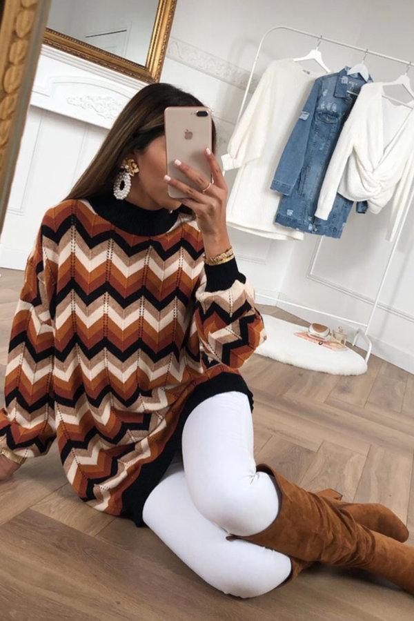 ΠΛΕΚΤΑ Inca πουλόβερ καφέ