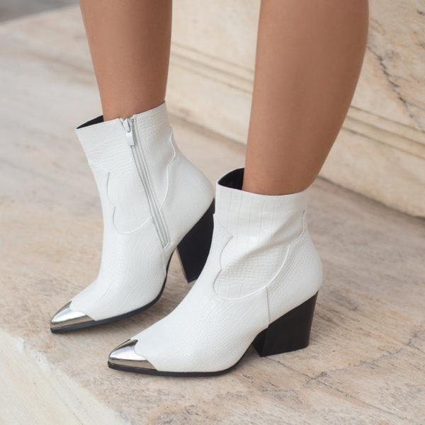 ΠΑΠΟΥΤΣΙΑ Amalie ankle boots λευκό