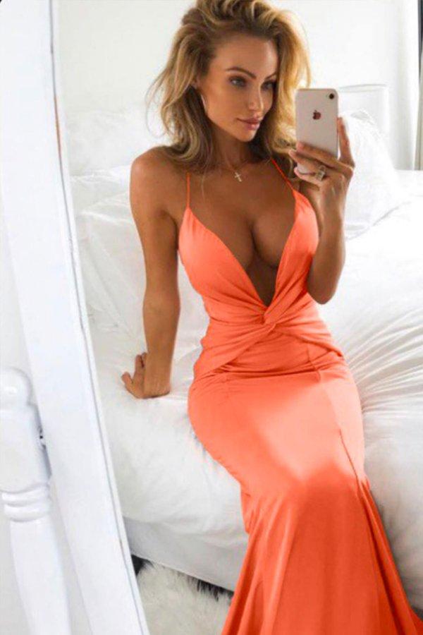 ΜΑΞΙ ΦΟΡΕΜΑΤΑ Keely φόρεμα πορτοκαλί