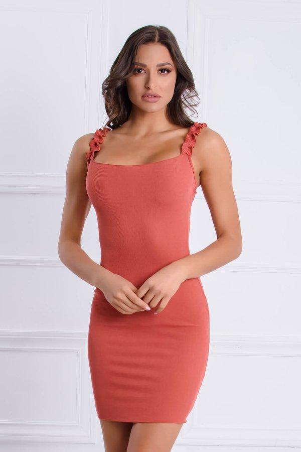 ΦΟΡΕΜΑΤΑ Daphne φόρεμα κοραλί