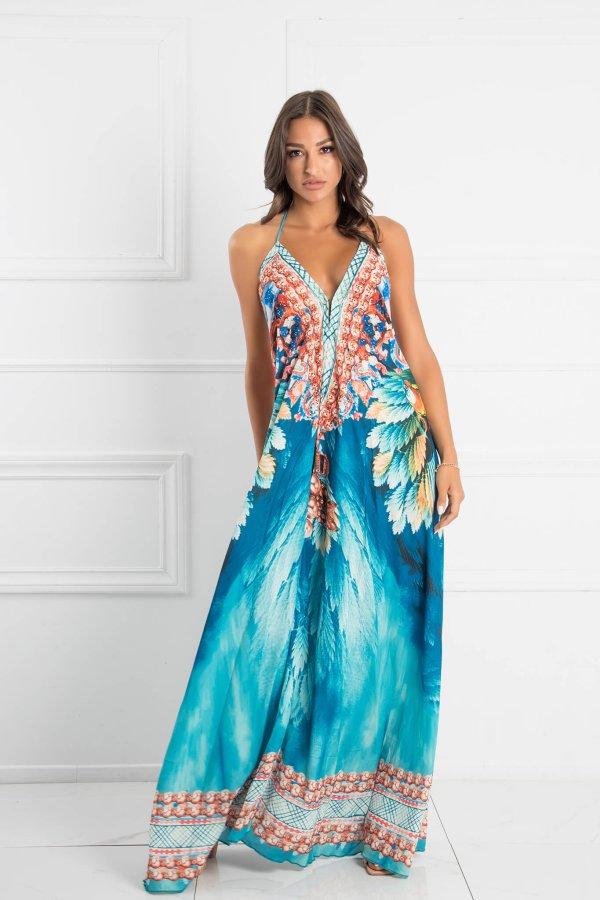ΜΑΞΙ ΦΟΡΕΜΑΤΑ Spush splash dress μπλε