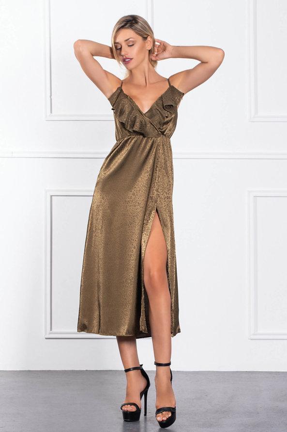 ΜΑΞΙ ΦΟΡΕΜΑΤΑ Linda φόρεμα λαδί