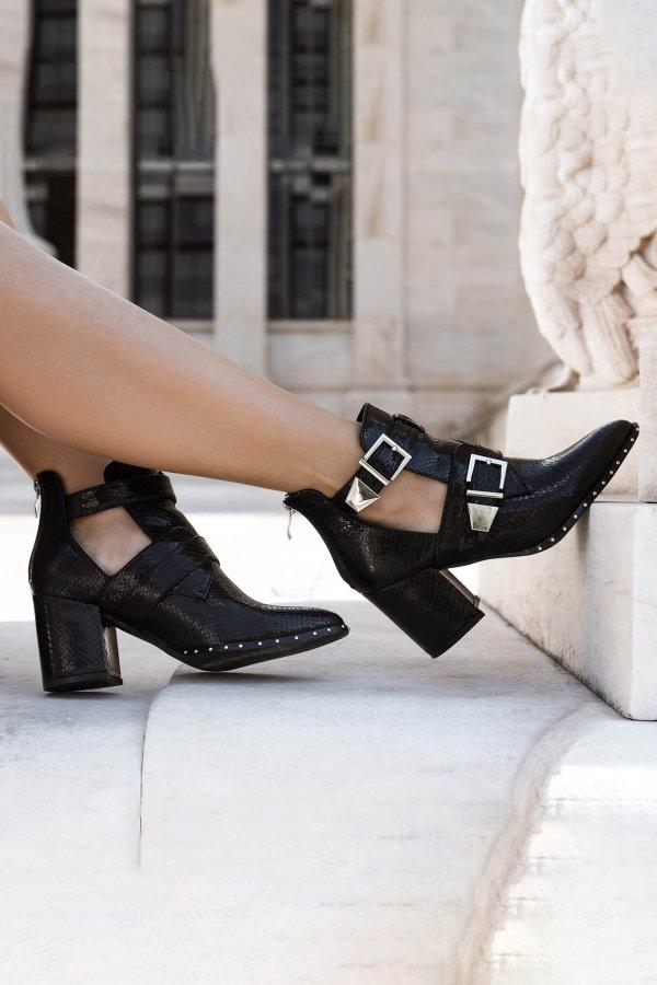 ΜΠΟΤΑΚΙΑ Cowgirl ankle boots black snake