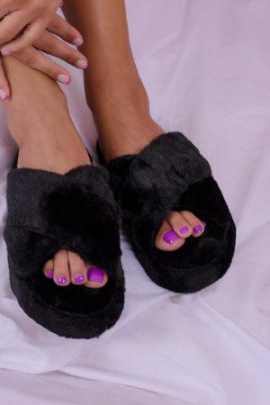 Slippers Fluffy fur slippers μαύρο