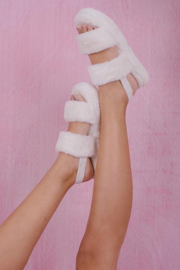 SALES Panda fur slippers λευκό