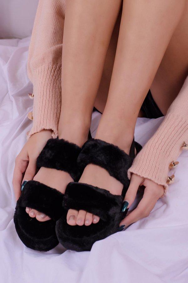 SALES Panda fur slippers μαύρο