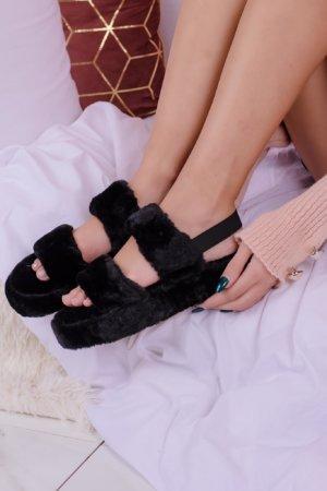 Slippers Panda fur slippers μαύρο