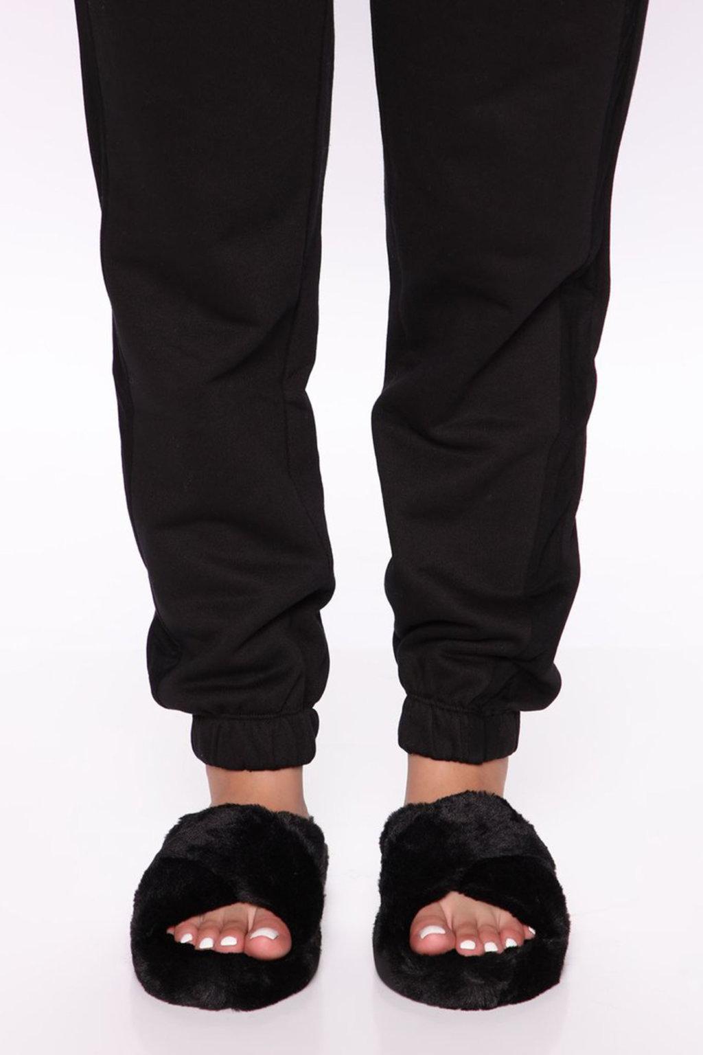 Fluffy fur slippers μαύρο