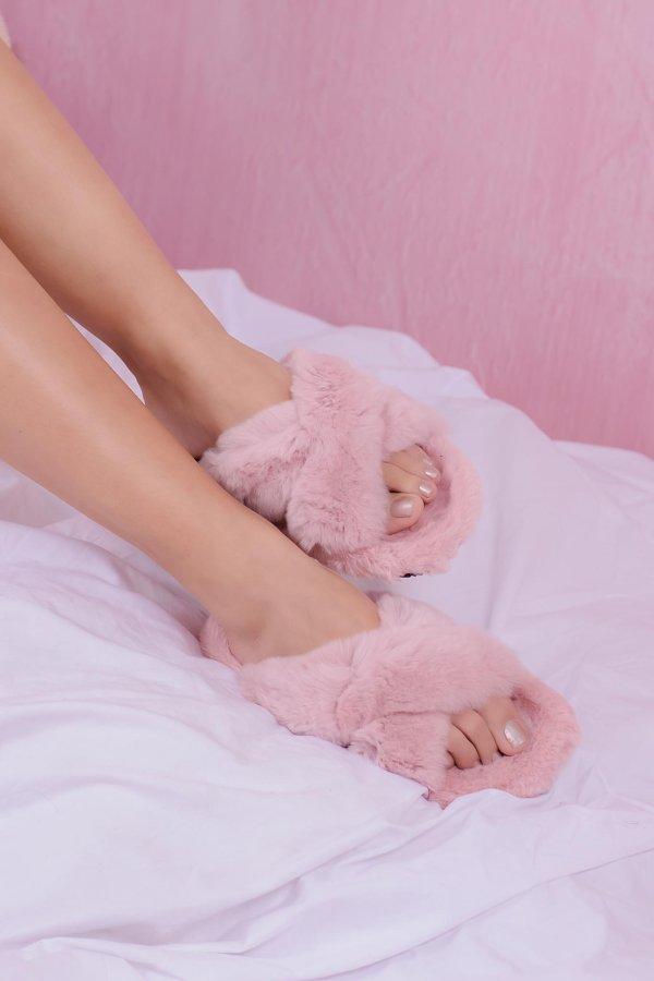 SALES Fluffy fur slippers ροζ