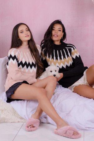 Slippers Fluffy fur slippers ροζ