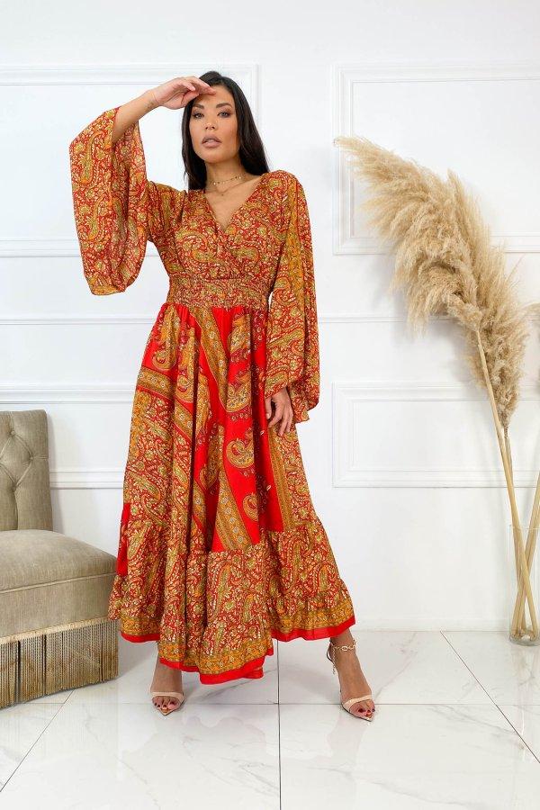 ΜΑΞΙ ΦΟΡΕΜΑΤΑ Raj φόρεμα κεραμιδί