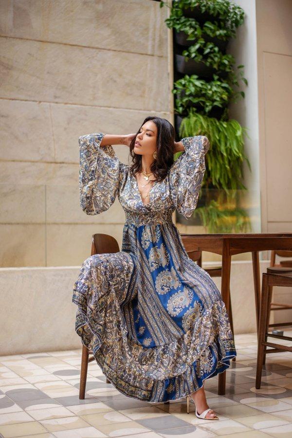 ΜΑΞΙ ΦΟΡΕΜΑΤΑ Raj φόρεμα μπλε ρουά