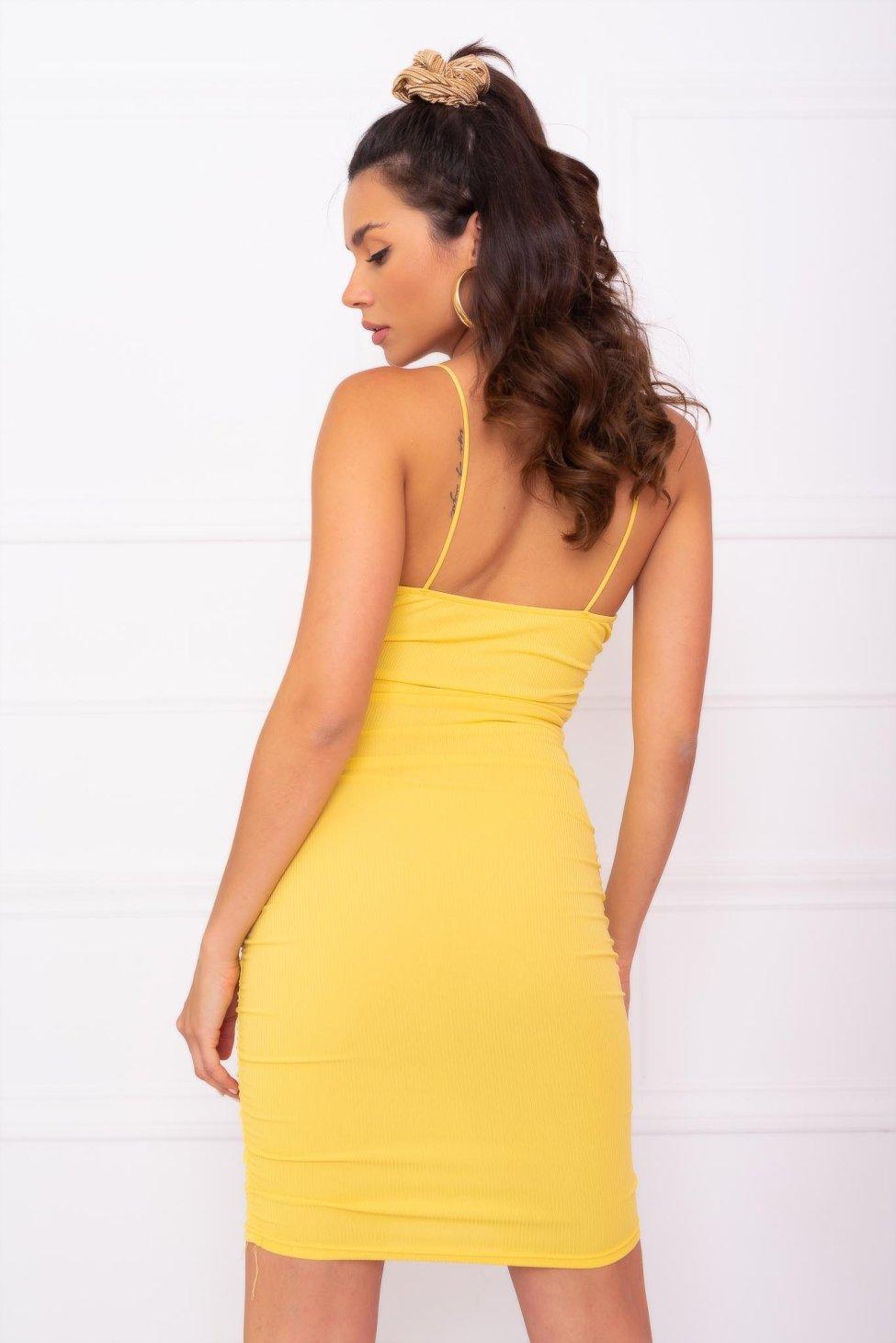 Armor ριπ φόρεμα κίτρινο