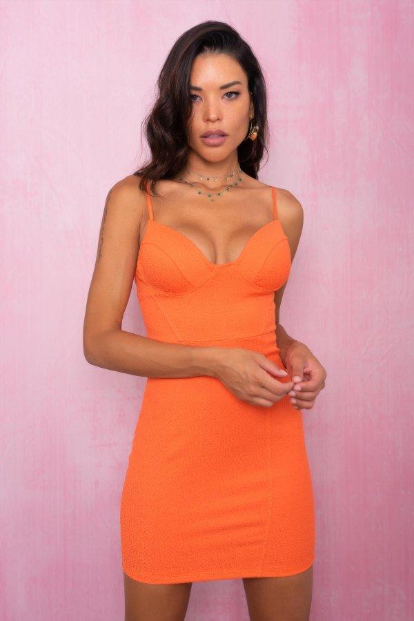 ΦΛΟΡΑΛ Elbe φόρεμα πορτοκαλί