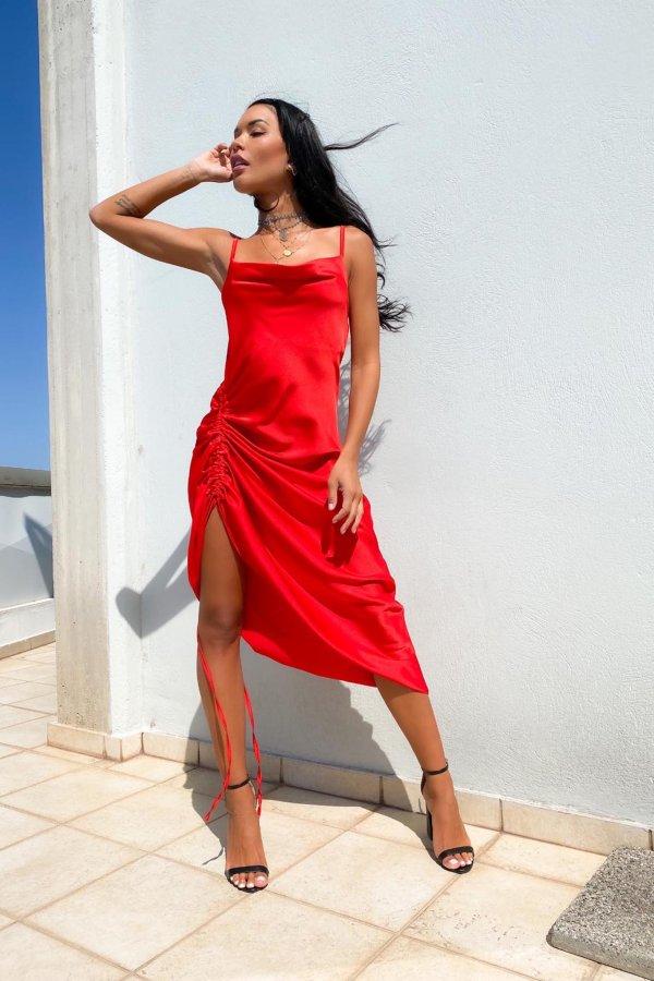 ΒΡΑΔΙΝΑ ΦΟΡΕΜΑΤΑ Stanley φόρεμα κόκκινο