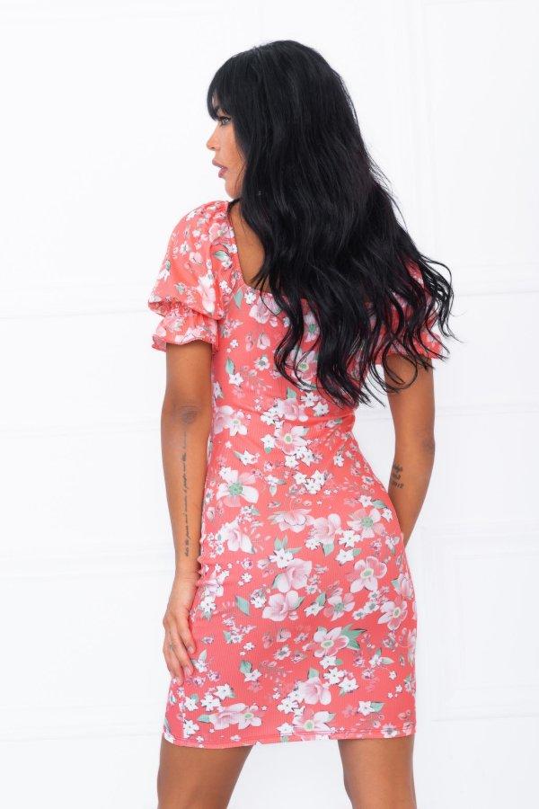 ΦΛΟΡΑΛ Ecstasis φόρεμα κοραλί