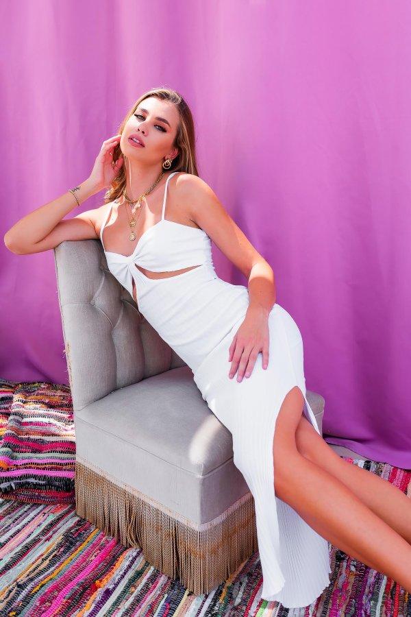ΜΑΞΙ ΦΟΡΕΜΑΤΑ Replacement ριπ φόρεμα λευκό