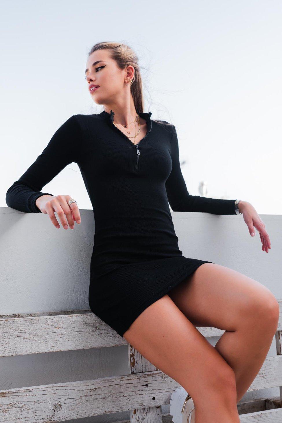 Apple juice ριπ φόρεμα μαύρο