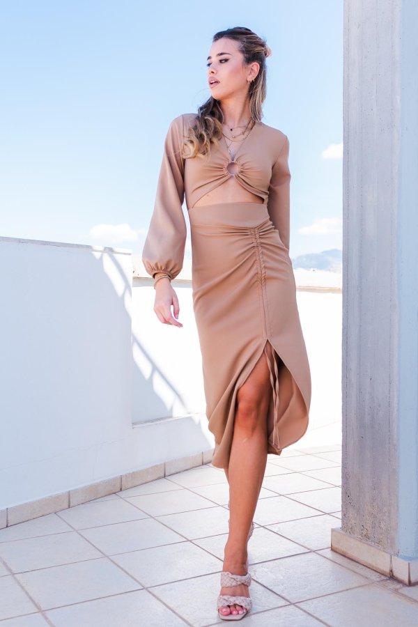 ΜΙΝΤΙ ΦΟΡΕΜΑΤΑ Waterfall φόρεμα κάμελ