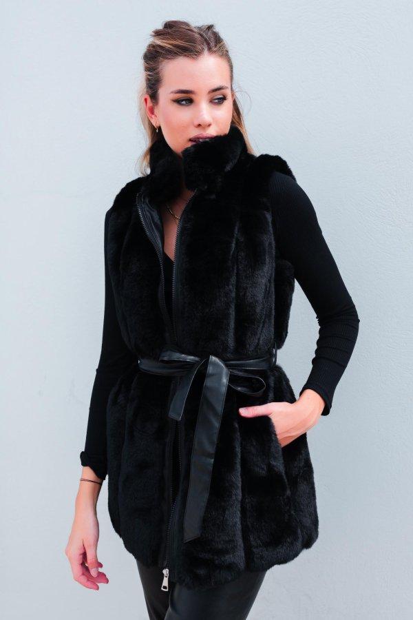 ΓΟΥΝΕΣ Bray γούνινο γιλέκο μαύρο