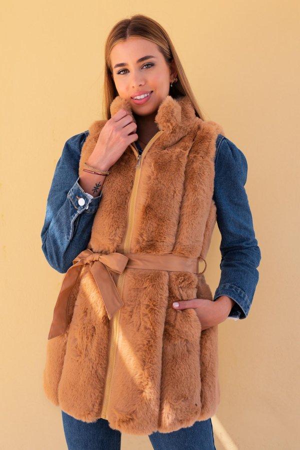 ΓΟΥΝΕΣ Bray γούνινο γιλέκο κάμελ