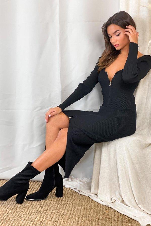ΜΙΝΤΙ ΦΟΡΕΜΑΤΑ Sue ριπ φόρεμα μαύρο